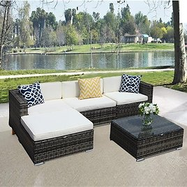 5pcs Patio Outdoor PE Wicker Rattan Sectional Furniture Set with Cream White Seat and Back Cushions, Blue Throw Pillows, Steel Frame, Gray