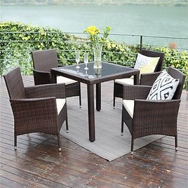 Patio Dining Table Set,Wisteria Lane 5 PCS Outdoor Upgrade Wicker Rattan Dining Furniture Glass Table Cushioned Chair,Grey