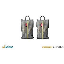 Pack All Water Resistant Shoe Bags for Travel, Storage Organizer Pouch with Zipper, Multi-Color for Men Women (2 Pack Grey)