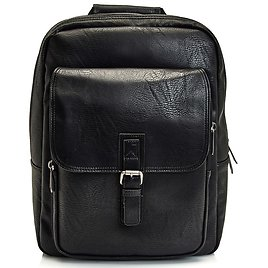 Black Pebbled Faux Leather Business Backpack