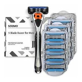 Prime Members: Solimo 5-Blade MotionSphere Razor for Men with Precision Trimmer, Handle & 16 Cartridges