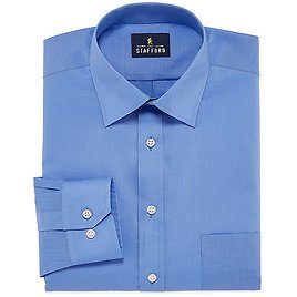Stafford Travel Easy-Care Broadcloth Mens Point Collar Long Sleeve Stretch Dress Shirt