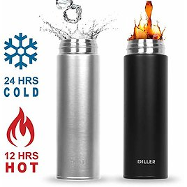 DILLER Vacuum Insulated Water Bottle, Stainless Steel Thermos Coffee Travel Mug BPA-Free Thermos Flask, Keeps Cold 24H, Hot 12H, 17 Oz (black): Kitchen & Dining