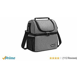 Comgrow Leakproof Large/& Durable Lunch Bag for Women Men Adults Outdoor Fashionable Insulated Cooler /& Thermal Lunch Box with Detachable Shoulder Strap and 4 Side Pockets for Work School