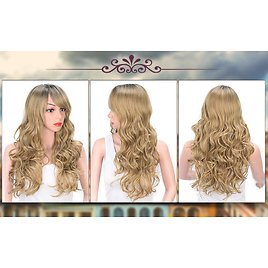 AISI QUEENS Ombre Long Curly Wig Synthetic Blonde Wigs for Women 2 Tone Dark Roots Wavy Wig with Bangs Natural Looking Premium Heat Resistant Wigs for Cosplay Party Daily Wear: Beauty