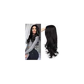 ForQueens Black Wavy Wigs for Women Long Curly Wig Synthetic Party Wigs Middle Part Full Wigs Natural Looking: Beauty