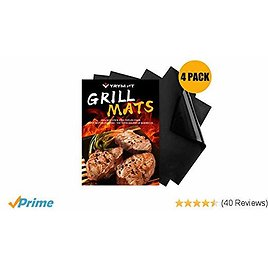 YRYM HT Best Grill Mat - Set of 4 Thick BBQ Grill Mats 100% Non Stick Barbecue Grill Mats, Reusable and Easy to Clean