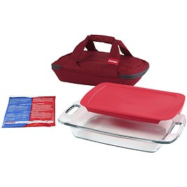 Pyrex 4-Piece Portables Set with Red Bag and Lid