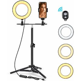 """LED Ring Light 6"""" with Tripod Stand & Phone Holder for Live Streaming & YouTube Video, Dimmable Desk Makeup Ring Light for Photography, Shooting with 3 Light Modes & 10 Brightness Level (High-6"""") : Camera & Photo"""