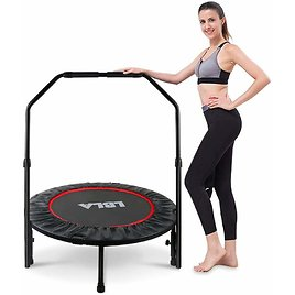 """38"""" Mini Trampoline with Adjustable Handle, Indoor Exercise Trampoline for Kids Adults, Foldable Rebounder Trampoline Max. Load 300lbs"""