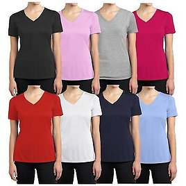 GET 65% OFF Womens Short Sleeve Fitted Tees Lounge Casual Cotton Stretch V-Neck T-Shirts NEW