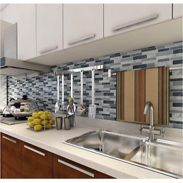 12 In. X 12 In. Grey Vinyl Peel and Stick Wall Tile Backsplash for Kitchen (10-Pack)
