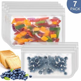 Easy Seal Sandwich Bags Reusable Snack Bags 7Pack