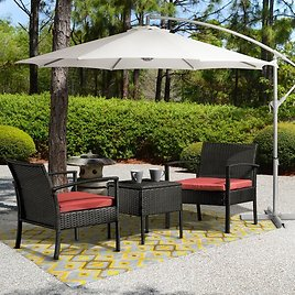 Patrice 3 Pc. Rattan Seating Group with Cushions