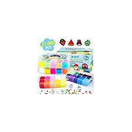 Fuse Beads, 21,000 Pcs Fuse Beads Kit 22 Colors 5MM for Kids, Including 8 Ironing Paper,48 Patterns, 4 Pegboards, Tweezers, Perler Beads Compatible Kit By INSCRAFT: Arts, Crafts & Sewing