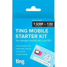 Ting GSM Sim Card Kit for Unlocked Phone with $30 Service Credit
