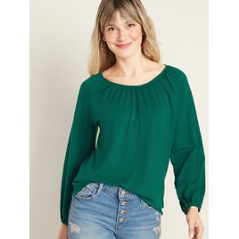 Loose 3/4-Length Poet-Sleeve Top for Women | Old Navy