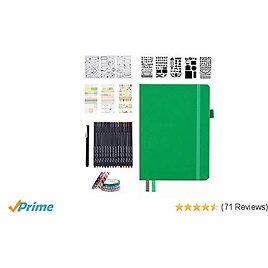 Dotted Journal Set, 224 Numbered Pages Faux Leather A5 Grid Hard Cover Green Notebook Planner with Index Inner Pocket, Abundant Accessories for Beginners Diary Schedule By Feela