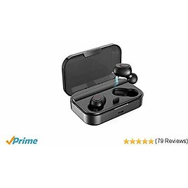 Wireless Earbuds, Bluetooth 5.0 Wireless Earphones TWS Stereo In-Ear Headphones with 2000mAh Charging Case Total 90H Playback Built-in Mic One-Step Pairing Deep Bass Sweatproof for Sport[2019 Version]