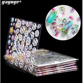 YAYOGE 10 Styles 5D Embossed Nail Decals Stickers Self-Adhesive Nail Decorations Nail Tips Decor