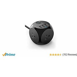 Anker Power Strip with USB, 5 ft Extension Cord, PowerPort Cube USB with 3 Outlets and 3 USB Ports, Portable Design