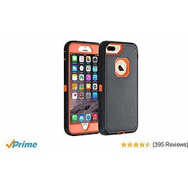 """Co-Goldguard IPhone 7 Plus /8 Plus Case [Litchi Pattern Series] Heavy Duty Armor 3 in 1 with Front Frame Rugged Protective Cover Shockproof Drop-Proof Non-Slip Shell for IPhone 7+/8+ 5.5"""",Black+Orange"""