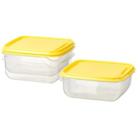 PRUTA Food container, clear, yellow20 oz - 3Pack