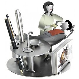 Female Dentist With Patient Business Card Holder and Metal Figurine - Contemporary - L