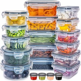 20-Pack Plastic Food Containers w/ Lids + F/S