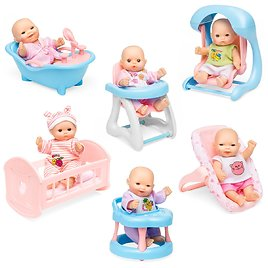Set of 6 Kids 5in Hand-Sized Baby Doll Toys