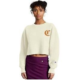 Reverse Weave Crop Cut Off Crew, Old English