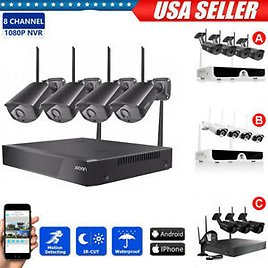 8CH Wireless 1080P HD NVR Outdoor Indoor WIFI IP Camera CCTV Security System HDD