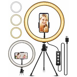 """10.2"""" Selfie Ring Light with Tripod Stand, ELEGIANT Ring Light with Cell Phone Holder 3 Light Modes & 11 Brightness Level"""
