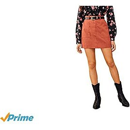 WDIRARA Women's High Waist Dual Pocket Solid Mini Corduroy Skirt Without Belted