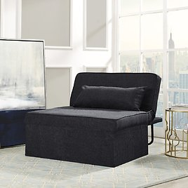 Relax-A-Lounger Metro Otto-Kube Multi-positional Ottoman Chaise Lounger Sleeper, Charcoal