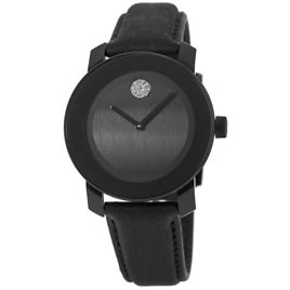 Bold 36mm Black Dial with Black Leather Strap Women's Watch