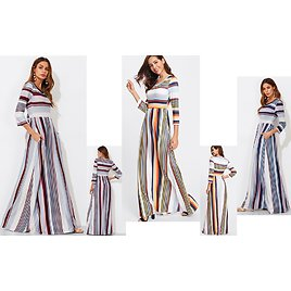 Milumia Women's Casual Long Sleeve Elastic Waist Striped Maxi Dress with Pockets Small Multicolor At Amazon Women's Clothing Store