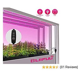 LED Grow Lights for Indoor Plants, Bliifuu 24W Sunlike Plant Lights with Auto 3/9/12H Timer, 4x1.6ft Flexible Grow Light Strips for Greenhouse, Hydropon, Succulent, Flower, Vegetable