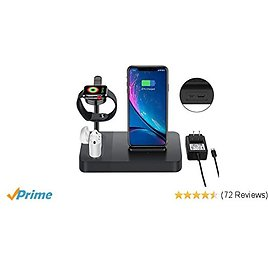 Wireless Charger Station for Watch Stand 3 in 1 Airpods Charger Qi 7.5W Wireless Charging Dock Compatible with I Phone 11 X XS 8 Plus Etc. (Included AC Power Adapter)