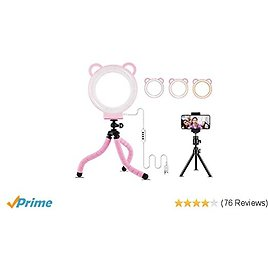 """LED Ring Light 6"""" with Tripod Stand for YouTube Video and Makeup, Mini LED Camera Light, 3 Light Modes & 11 Brightness Level"""