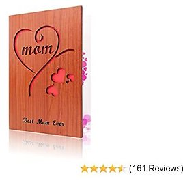 Wooden Mothers Day Card Mom Greeting Card for Mother Gift Best Mom Ever Card