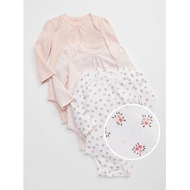 40% OFF + Extra20% OFF Baby First Favorite Floral Long Sleeve Bodysuit (3-Pack)