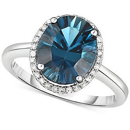 Macy's London Blue Topaz (3-1/2 Ct. T.w.) & Diamond (1/8 Ct. T.w.) Statement Ring in 14k White Gold & Reviews - Rings - Jewelry & Watches