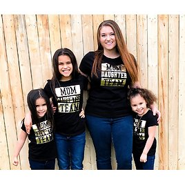 Womens Matching Family Short Sleeve Foil 'Mom Daughter Team' Graphic Tee