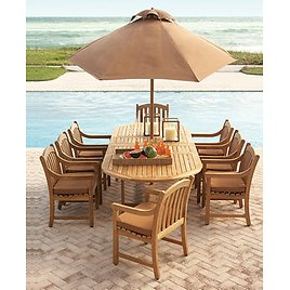 Outdoor Teak 9-Pc. Dining Set w/8 Dining Chairs
