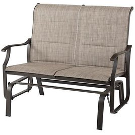 Hampton Bay Riverbrook 2-Person Steel Patio Padded Sling Glider