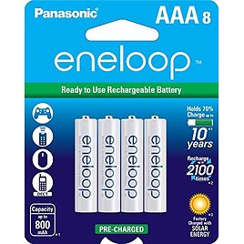 8-Pack, Panasonic eneloop AAA 2100 Cycle Ni-MH Pre-Charged Rechargeable Batteries