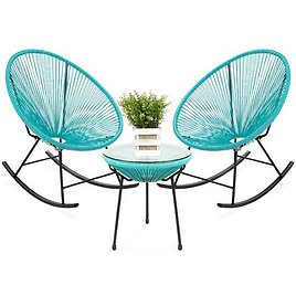 3-Piece Patio Woven Rope Acapulco Rocking Chair Bistro Set (4 Colors)