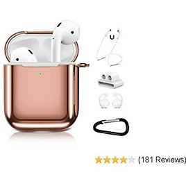 AirPods Case Cover with Keychain,Aiiko Upgraded 5 in 1 Accessories Soft Plated TPU Case Shockproof Protective Case Compatible with Apple AirPods Charging Case 2 & 1 [Front LED Visible] - Rose Gold