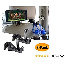 Car Hooks Car Seat Back Hooks with Phone Holder,Mifeng(2 Pack) Universal Vehicle Car Headrest Hooks Hanger with Lock and Phone Bracket for Holding Phones and Hanging Bag, Purse, Cloth, Grocery